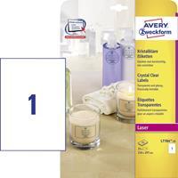 Avery Zweckform Avery transparante Crystal Clear etiketten ft 21 x 29,7 cm, 25 etiketten, 1 per blad