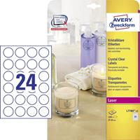 Avery Zweckform Avery transparante Crystal Clear etiketten diameter 40 mm, 600 etiketten, 24 per blad