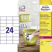 Avery Zweckform Avery-Zweckform L4718REV-20 Etiketten (A4) 70 x 37 mm Polyester folie Wit 480 stuks Weer verwijderbaar Universele etiketten, Weerbestendige etiketten Laser,