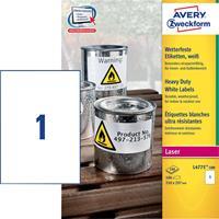 Avery Zweckform Avery-Zweckform L4775-100 Etiketten (A4) 210 x 297 mm Polyester folie Wit 100 stuks Permanent Universele etiketten, Weerbestendige etiketten Laser, Kopie