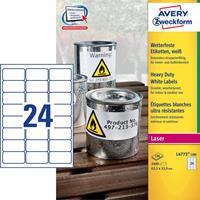 Avery Zweckform Avery-Zweckform L4773-100 Etiketten (A4) 63.5 x 33.9 mm Polyester folie Wit 2400 stuks Permanent Universele etiketten, Weerbestendige etiketten Laser, Kopie
