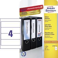 Avery Zweckform Avery-Zweckform L4761-10 Etiketten (A4) 61 x 192 mm Papier Wit 40 stuks Permanent Ordneretiketten Inkt, Laser, Kopie