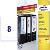 Avery Zweckform Avery-Zweckform L6060-10 Etiketten (A4) 34 x 192 mm Papier Wit 80 stuks Permanent Ordneretiketten Inkt, Laser, Kopie