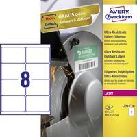Avery Zweckform Avery-Zweckform L7914-40 Etiketten (A4) 99.1 x 67.7 mm Polyethyleen folie Wit 320 stuks Permanent Universele etiketten Laser, Kopie