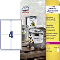 Avery Zweckform Etiket  L4774-20 99.1x139mm polyester wit 80stuks