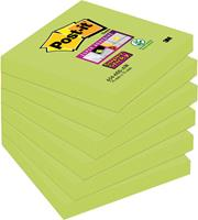 Post-it Super Sticky Notes Neon, ft 76 x 76 mm, kerrie, pak van 6 blokken