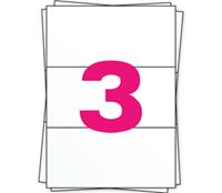 DHL Etiket op A4 stickervellen, 3 per vel, wit, permanent, 98,5mm x
