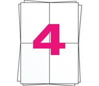 DPD Etiket op A4 stickervellen, 4 per vel, wit, permanent, 105mm x