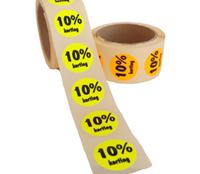 10% Kortingsstickers, Fluor Geel, 500 Stickers