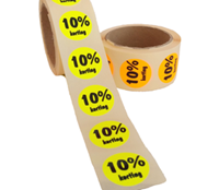 10% Kortingsstickers, Fluor Oranje, 500 Stickers