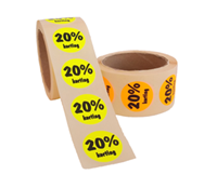 20% Kortingsstickers, Fluor Oranje, 500 Stickers