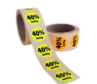 40% Kortinggstickers, Fluor Oranje, 500 Stickers