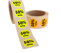 50% Kortingsstickers, Fluor Oranje, 500 Stickers