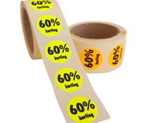 60% Kortingsstickers, Fluorescerend Oranje, 500 Stickers