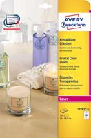 Avery transparante Crystal Clear etiketten ft 96 x 50,8 mm, 250 etiketten, 10 per blad