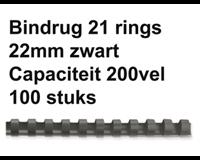 fellowes Bindrug  22mm 21rings A4 zwart 50stuks