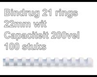 fellowes Bindrug  22mm 21rings A4 wit 50stuks