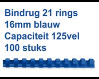 fellowes Bindrug  16mm 21rings A4 blauw 100stuks