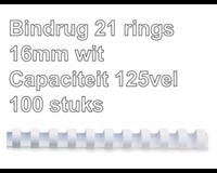 fellowes Bindrug  16mm 21rings A4 wit 100stuks