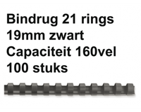 fellowes Bindrug  19mm 21rings A4 zwart 100stuks