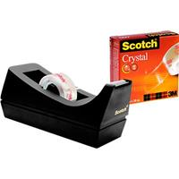 Scotch plakbandafroller + 1 rol Crystal 19 mm x 10 m