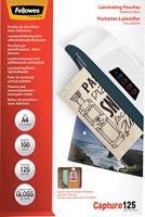 Fellowes lamineerhoes Capture125 ft A4, 250 micron (2 x 125 micron), pak van 100 stuks, zelfklevend