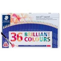 Staedtler kleurpotlood Ergosoft 157, driekantig, doos van 36 stuks in geassorteerde kleuren