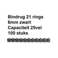 FELLOWES Bindrug  6mm 21rings A4 zwart 100stuks