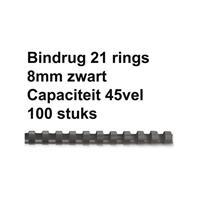 FELLOWES Bindrug  8mm 21rings A4 zwart 100stuks