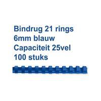 GBC Bindrug  6mm 21rings A4 blauw 100stuks