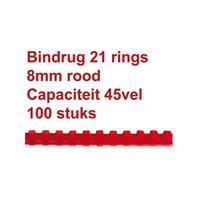 GBC Bindrug  8mm 21rings A4 rood 100stuks