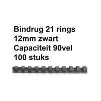FELLOWES Bindrug  12mm 21rings A4 zwart 100stuks