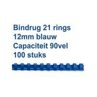GBC Bindrug  12mm 21rings A4 blauw 100stuks