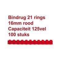 GBC Bindrug  16mm 21rings A4 rood 100stuks