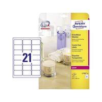 Avery Zweckform Avery-Zweckform L7782-25 Etiketten (A4) 63.5 x 38.1 mm Polyester folie Transparant 525 stuks Permanent