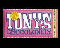 Tony'schocolonely Chocolade  reep 180gr wit framboos knettersuiker