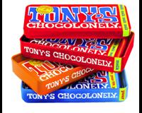Tony'schocolonely Chocolade  reep 180gr in blik puur-melk en karamel zeezout