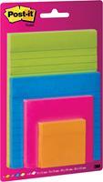 Post-It Super Sticky Notes, geassorteerde kleuren en formaten, blister van 4