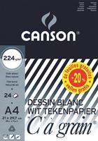 """Canson tekenblok """"C"""" à grain® ft A4, papier van 224 g/m²"""