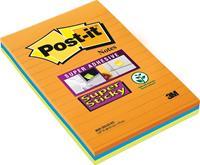 Post-It Super Sticky Notes, 45 blaadjes, ft 102 x 152 mm, geassorteerde kleuren, pak van 3