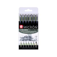 sakura Fineliner  Pigma Micron ass + brushpen zwart