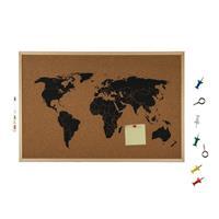 Prikbord met wereldkaart 40 x 60 cm