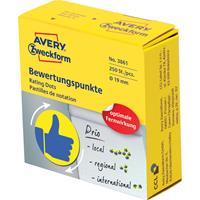 Avery rating dots, diameter 19 mm, rol met 250 stuks, blauw/geel, duim