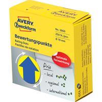 Avery rating dots, diameter 19 mm, rol met 250 stuks, blauw/geel, pijl