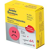 Avery rating dots, diameter 19 mm, rol met 250 stuks, smiley, rood