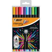 Bic fineliner Intensity, fijn, etui van 10 stuks in geassorteerde kleuren