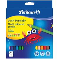 Pelikan kleurpotlood rond, etui van 12 stuks in geassorteerde kleuren + slijper