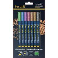 Securit krijtmarker fijn, blister van 7 stuks in geassorteerde metallic kleuren