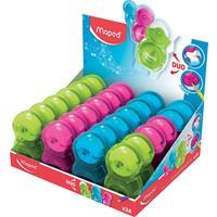 Maped potloodslijper/gum Loopy transparant 1-gaats, display van 24 stuks in geassorteerde kleuren