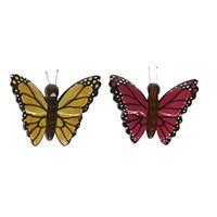2x Vlinder magneten geel en roze van hout